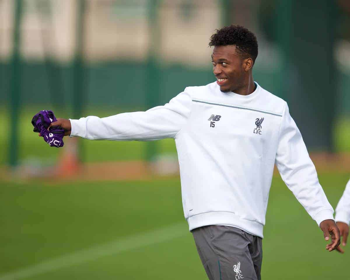 LIVERPOOL, ENGLAND - Wednesday, September 30, 2015: Liverpool's Daniel Sturridge during a training session at Melwood Training Ground ahead of the UEFA Europa League Group Stage Group B match against FC Sion. (Pic by David Rawcliffe/Propaganda)