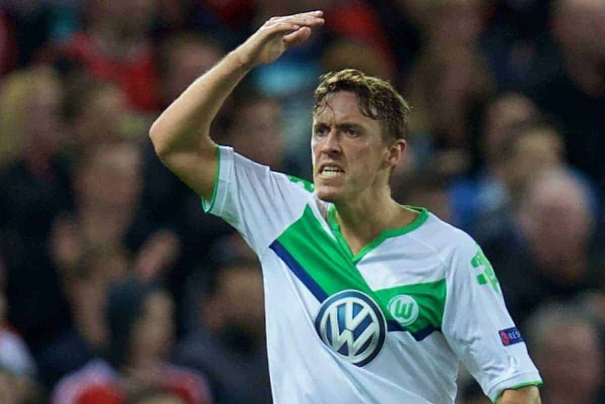 MANCHESTER, ENGLAND - Wednesday, September 30, 2015: VfL Wolfsburg's Max Kruse in action against Manchester United during the UEFA Champions League Group B match at Old Trafford. (Pic by David Rawcliffe/Propaganda)