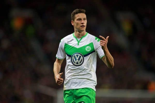 VfL Wolfsburg's Julian Draxler in action against Manchester United during the UEFA Champions League Group B match at Old Trafford. (Pic by David Rawcliffe/Propaganda)