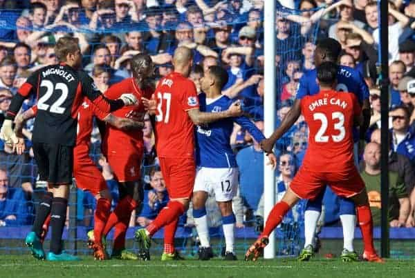 LIVERPOOL, ENGLAND - Sunday, October 4, 2015: Liverpool's Mamadou Sakho and Everton's Romelu Lukaku are separated by team-mates after a clash during the Premier League match at Goodison Park, the 225th Merseyside Derby. (Pic by David Rawcliffe/Propaganda)