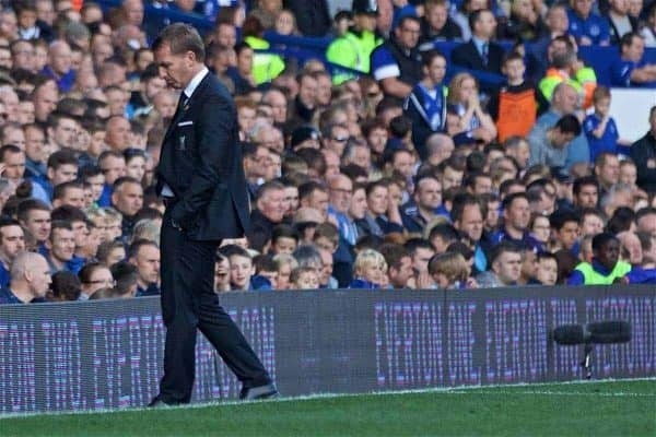 LIVERPOOL, ENGLAND - Sunday, October 4, 2015: Liverpool's manager Brendan Rodgers walks dejectedly off the touchline during his last hame as Liverpool manager during the Premier League match against Everton at Goodison Park, the 225th Merseyside Derby. (Pic by Lexie Lin/Propaganda)