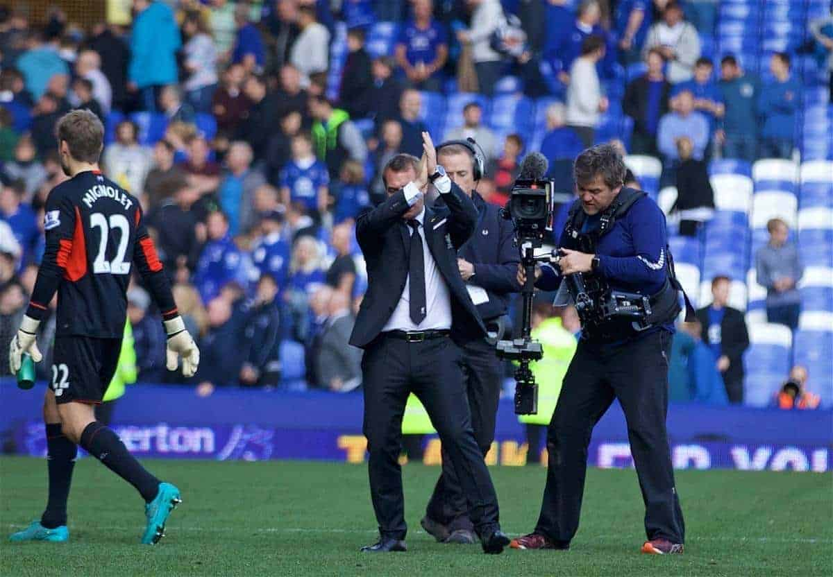 LIVERPOOL, ENGLAND - Sunday, October 4, 2015: Liverpool's manager Brendan Rodgers applauds the supporters after the 1-1 draw with Everton, which was his last game in charge of the Reds, during the Premier League match at Goodison Park, the 225th Merseyside Derby. (Pic by Lexie Lin/Propaganda)