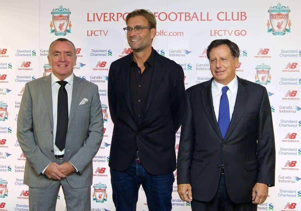 LIVERPOOL, ENGLAND - Friday, October 9, 2015: Liverpool's Managing Director Ian Ayre [L] and co-owner and NESV Chairman Tom Werner [R] announce German Jürgen Klopp as the new manager during a press conference at Anfield. (Pic by David Rawcliffe/Propaganda)