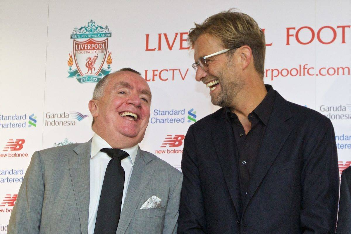 LIVERPOOL, ENGLAND - Friday, October 9, 2015: Liverpool's Managing Director Ian Ayre [L] and new manager Jürgen Klopp share a joke during a press conference at Anfield. (Pic by David Rawcliffe/Propaganda)