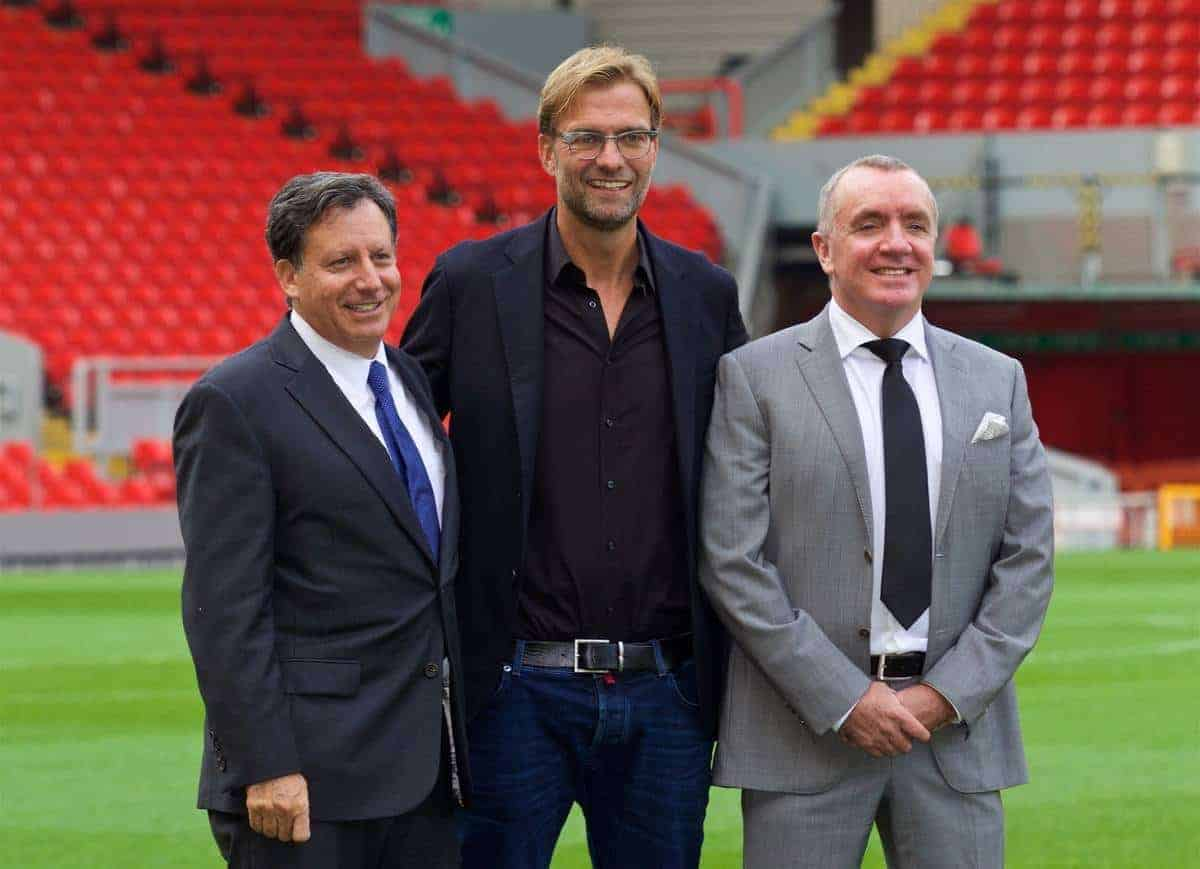 LIVERPOOL, ENGLAND - Friday, October 9, 2015: Liverpool's co-owner and NESV Chairman Tom Werner [L], Managing Director Ian Ayre [R] and new manager Jürgen Klopp during a photo-call at Anfield. (Pic by David Rawcliffe/Propaganda)