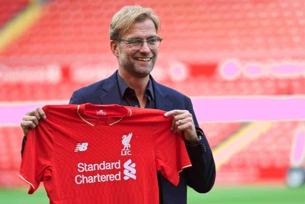 LIVERPOOL, ENGLAND - Friday, October 9, 2015: Liverpool's new manager Jürgen Klopp during a photo-call at Anfield. (Pic by David Rawcliffe/Propaganda)