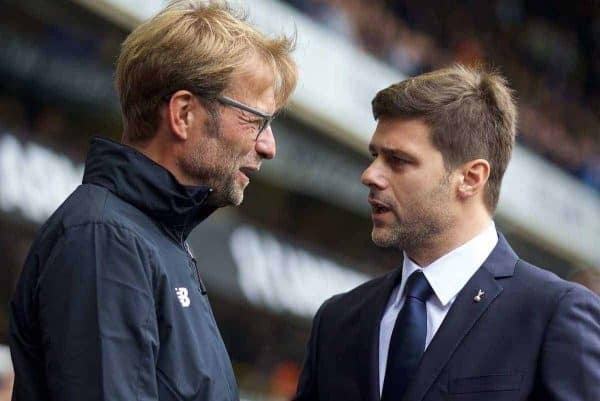 LONDON, ENGLAND - Saturday, October 17, 2015: Liverpool's manager Jürgen Klopp and Tottenham Hotspur's manager Mauricio Pochettino before the Premier League match at White Hart Lane. (Pic by David Rawcliffe/Kloppaganda)