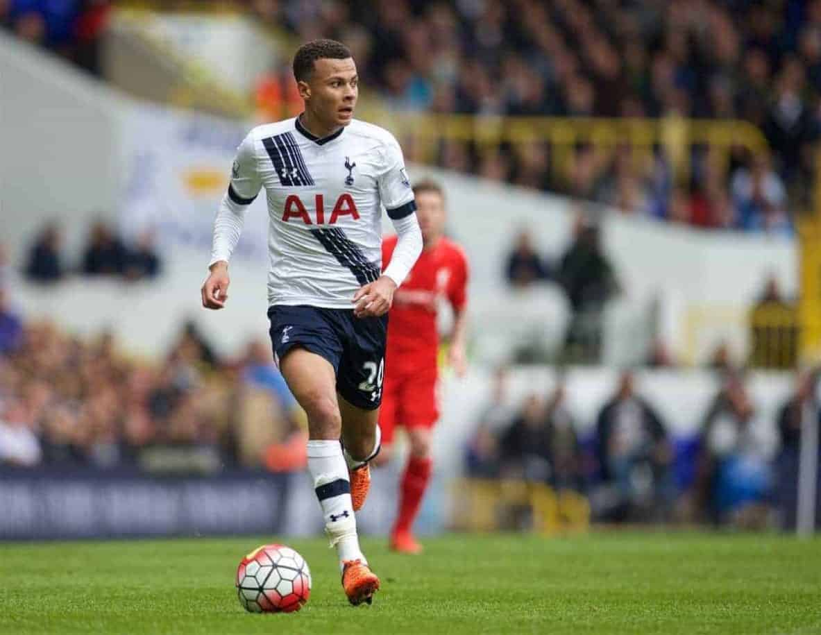 LONDON, ENGLAND - Saturday, October 17, 2015: Tottenham Hotspur's Dele Alli in action against Liverpool during the Premier League match at White Hart Lane. (Pic by David Rawcliffe/Kloppaganda)