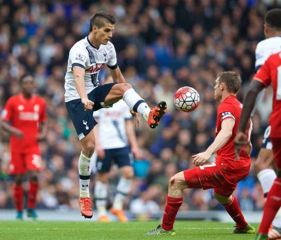 LONDON, ENGLAND - Saturday, October 17, 2015: Tottenham Hotspur's Erik Lamela in action against Liverpool during the Premier League match at White Hart Lane. (Pic by David Rawcliffe/Kloppaganda)