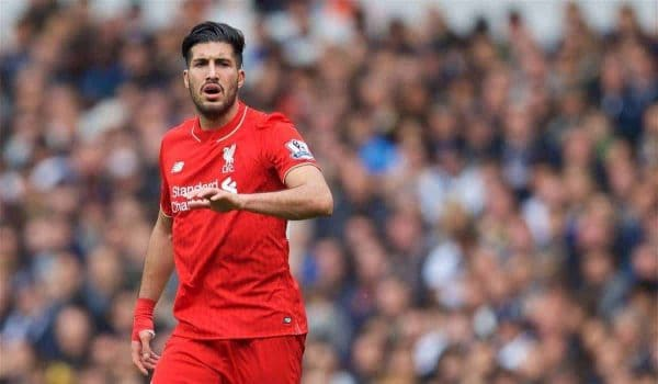 LONDON, ENGLAND - Saturday, October 17, 2015: Liverpool's Emre Can in action against Tottenham Hotspur during the Premier League match at White Hart Lane. (Pic by David Rawcliffe/Kloppaganda)c