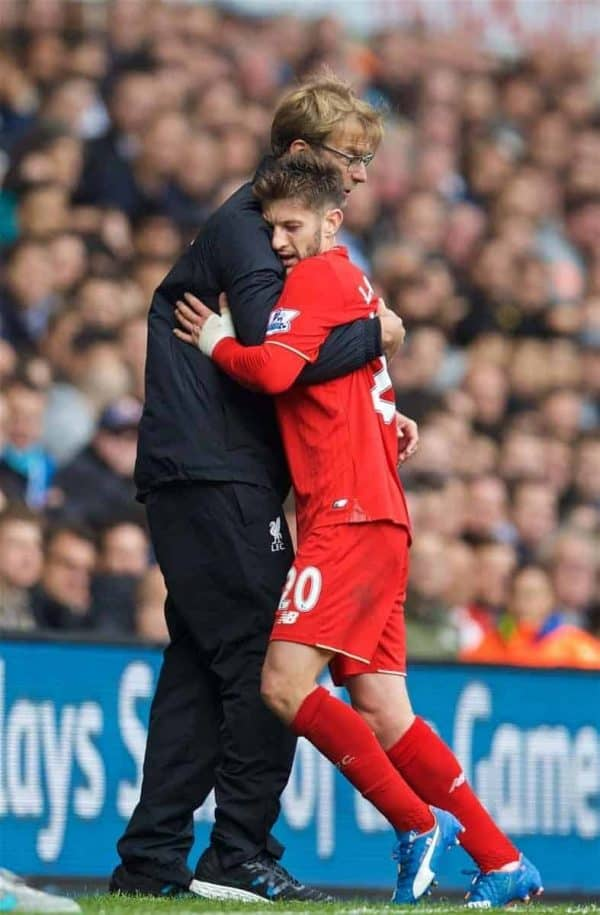 LONDON, ENGLAND - Saturday, October 17, 2015: Liverpool's Adam Lallana embraces manager Jürgen Klopp as he is substituted against Tottenham Hotspur during the Premier League match at White Hart Lane. (Pic by David Rawcliffe/Kloppaganda)