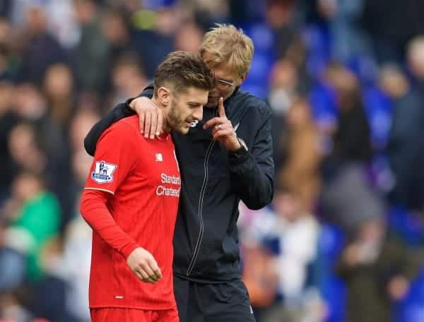 LONDON, ENGLAND - Saturday, October 17, 2015: Liverpool's manager Jürgen Klopp and Adam Lallana after the goal-less draw with Tottenham Hotspur during the Premier League match at White Hart Lane. (Pic by David Rawcliffe/Kloppaganda)