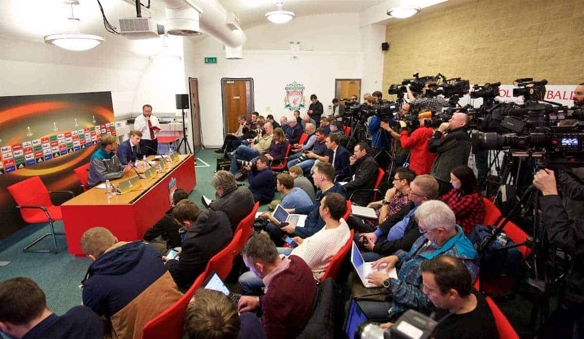 LIVERPOOL, ENGLAND - Wednesday, October 21, 2015: The media attend a press conference with Liverpool's manager Jürgen Klopp at Melwood Training Ground ahead of the UEFA Europa League Group Stage Group B match against FC Rubin Kazan. (Pic by David Rawcliffe/Propaganda)