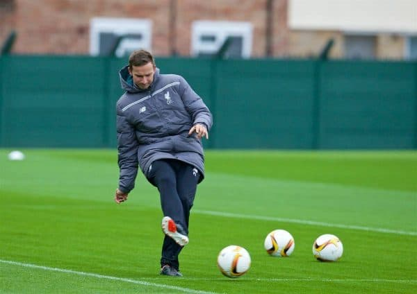 LIVERPOOL, ENGLAND - Wednesday, October 21, 2015: Liverpool's first-team development coach Pepijn Lijnders during a training session at Melwood Training Ground ahead of the UEFA Europa League Group Stage Group B match against FC Rubin Kazan. (Pic by David Rawcliffe/Propaganda)