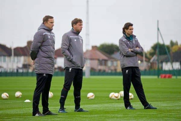 LIVERPOOL, ENGLAND - Wednesday, October 21, 2015: Liverpool's first-team development coach Pepijn Lijnders, first team coach Peter Krawietz and assistant manager Zeljko Buvac during a training session at Melwood Training Ground ahead of the UEFA Europa League Group Stage Group B match against FC Rubin Kazan. (Pic by David Rawcliffe/Propaganda)