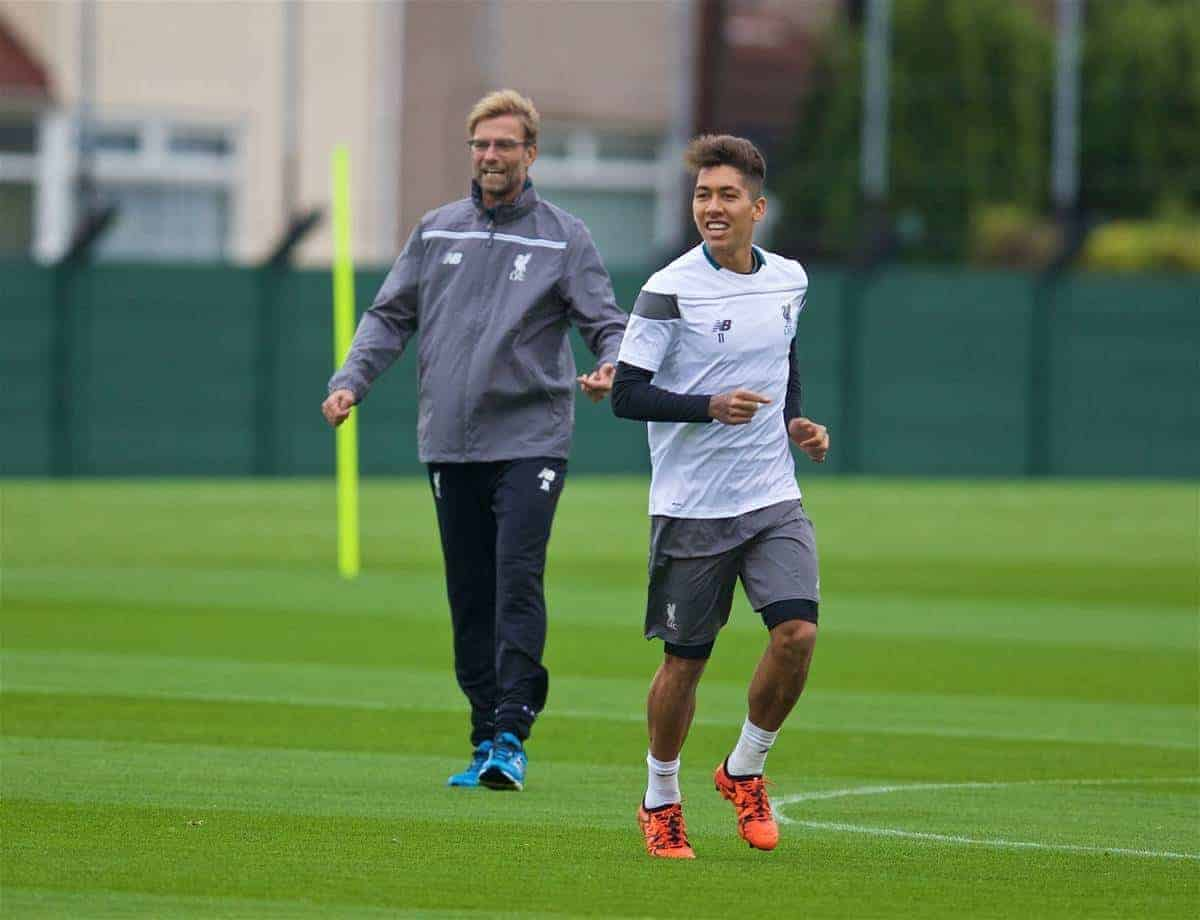 LIVERPOOL, ENGLAND - Wednesday, October 21, 2015: Liverpool's new manager Jürgen Klopp and Roberto Firmino during a training session at Melwood Training Ground ahead of the UEFA Europa League Group Stage Group B match against FC Rubin Kazan. (Pic by David Rawcliffe/Propaganda)