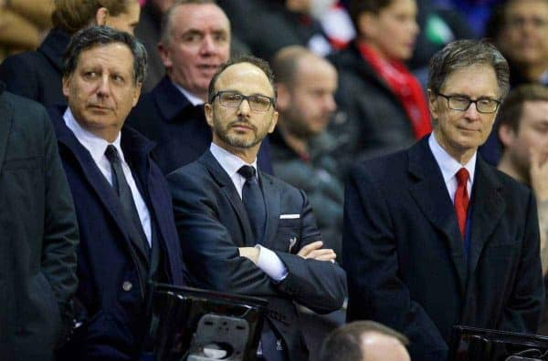 LIVERPOOL, ENGLAND - Thursday, October 22, 2015: Liverpool's co-owner and NESV Chairman Tom Werner, Director Michael Gordon and owner John W. Henry before the UEFA Europa League Group Stage Group B match against Rubin Kazan at Anfield. (Pic by David Rawcliffe/Propaganda)