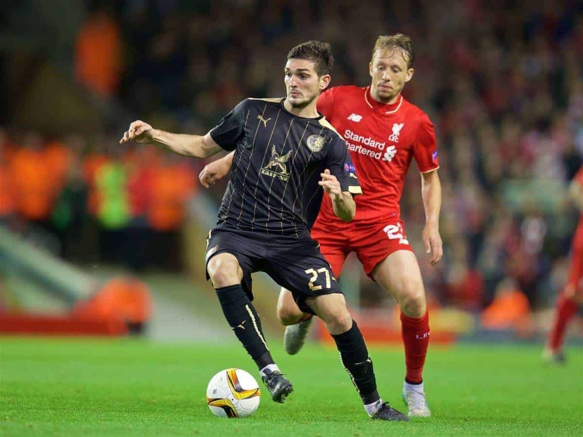 LIVERPOOL, ENGLAND - Thursday, October 22, 2015: Liverpool's Lucas Leiva in action against Rubin Kazan's Majored Ozdoev during the UEFA Europa League Group Stage Group B match at Anfield. (Pic by David Rawcliffe/Propaganda)