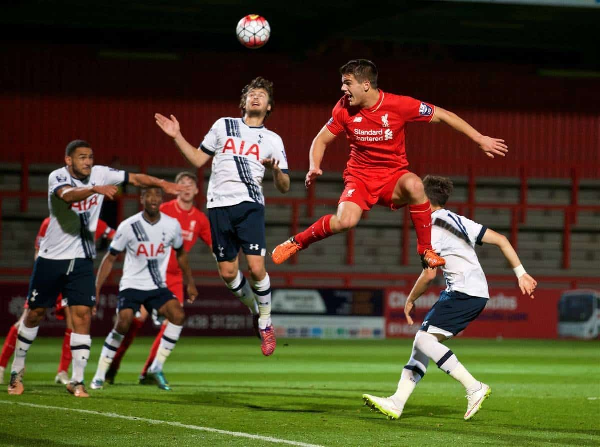 STEVENAGE, ENGLAND - Friday, October 23, 2015: Liverpool's Tom Brewitt in action against Tottenham Hotspur during the Under 21 FA Premier League match at the Lamex Stadium. (Pic by David Rawcliffe/Propaganda)