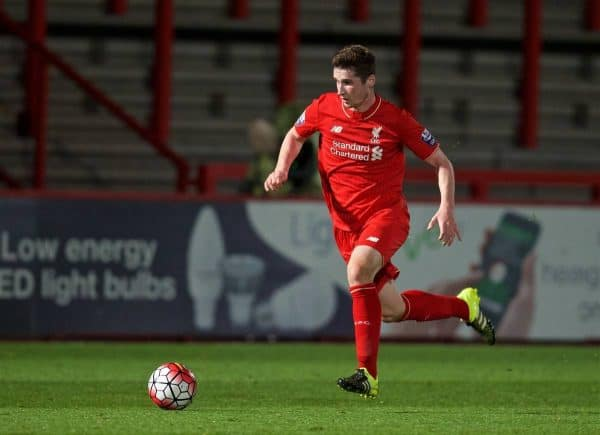 STEVENAGE, ENGLAND - Friday, October 23, 2015: Liverpool's Corey Whelan in action against Tottenham Hotspur during the Under 21 FA Premier League match at the Lamex Stadium. (Pic by David Rawcliffe/Propaganda)