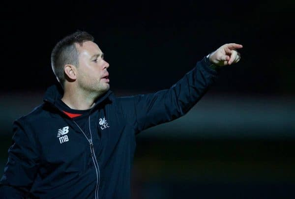 STEVENAGE, ENGLAND - Friday, October 23, 2015: Liverpool's manager Michael Beale during the Under 21 FA Premier League match against Tottenham Hotspur at the Lamex Stadium. (Pic by David Rawcliffe/Propaganda)