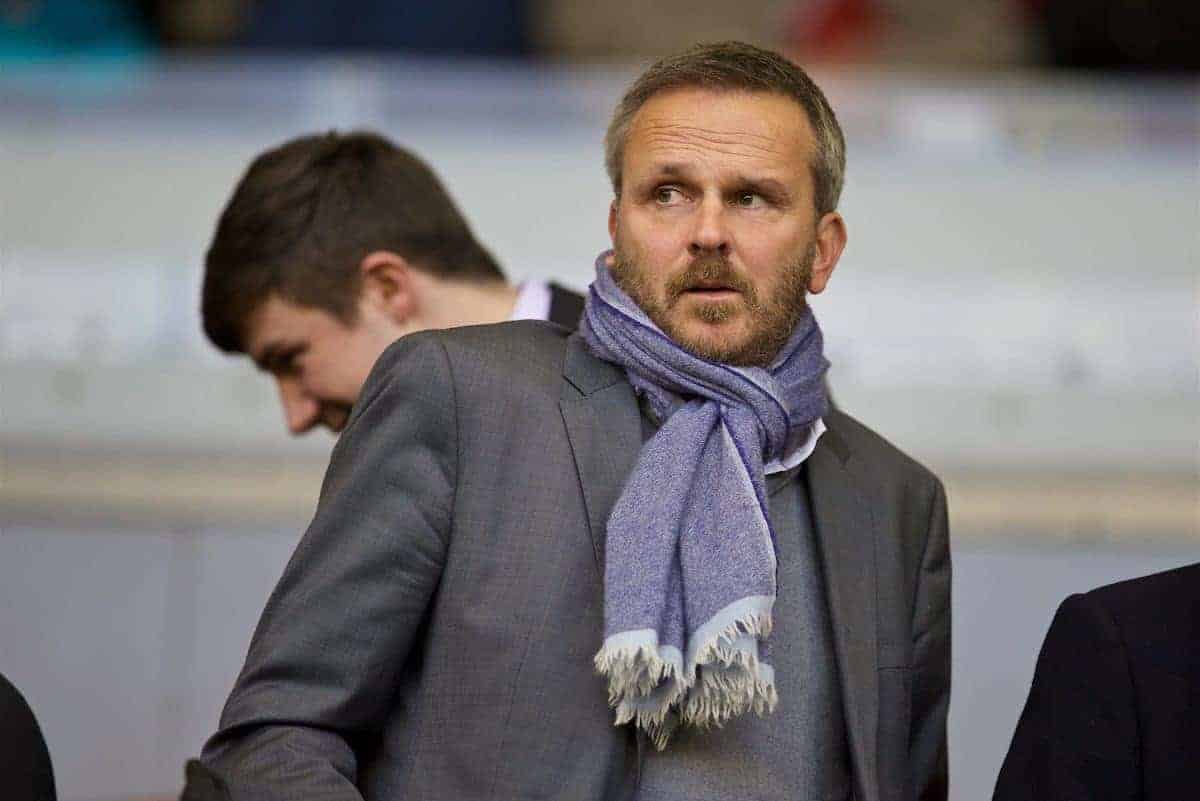 LIVERPOOL, ENGLAND - Sunday, October 25, 2015: Liverpool formal player Dietmar Hamann in the director's box before the Premier League match against Southampton at Anfield. (Pic by David Rawcliffe/Propaganda)