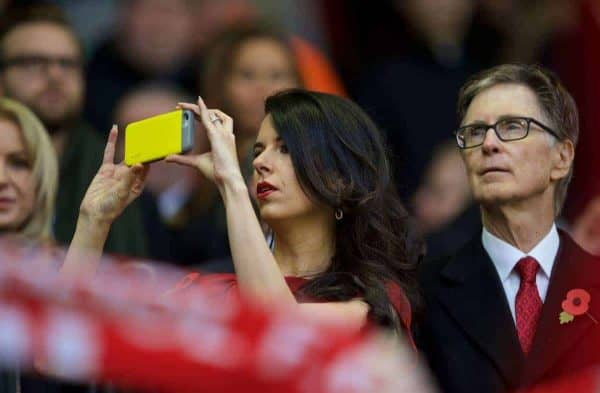 LIVERPOOL, ENGLAND - Sunday, October 25, 2015: Liverpool's Linda Pizzuti take a video with her Apple iPhone alongside owner John W. Henry in the director's box before the Premier League match against Southampton at Anfield. (Pic by David Rawcliffe/Propaganda)