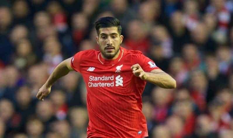 LIVERPOOL, ENGLAND - Sunday, October 25, 2015: Liverpool's Emre Can in action against Southampton during the Premier League match at Anfield. (Pic by David Rawcliffe/Propaganda)