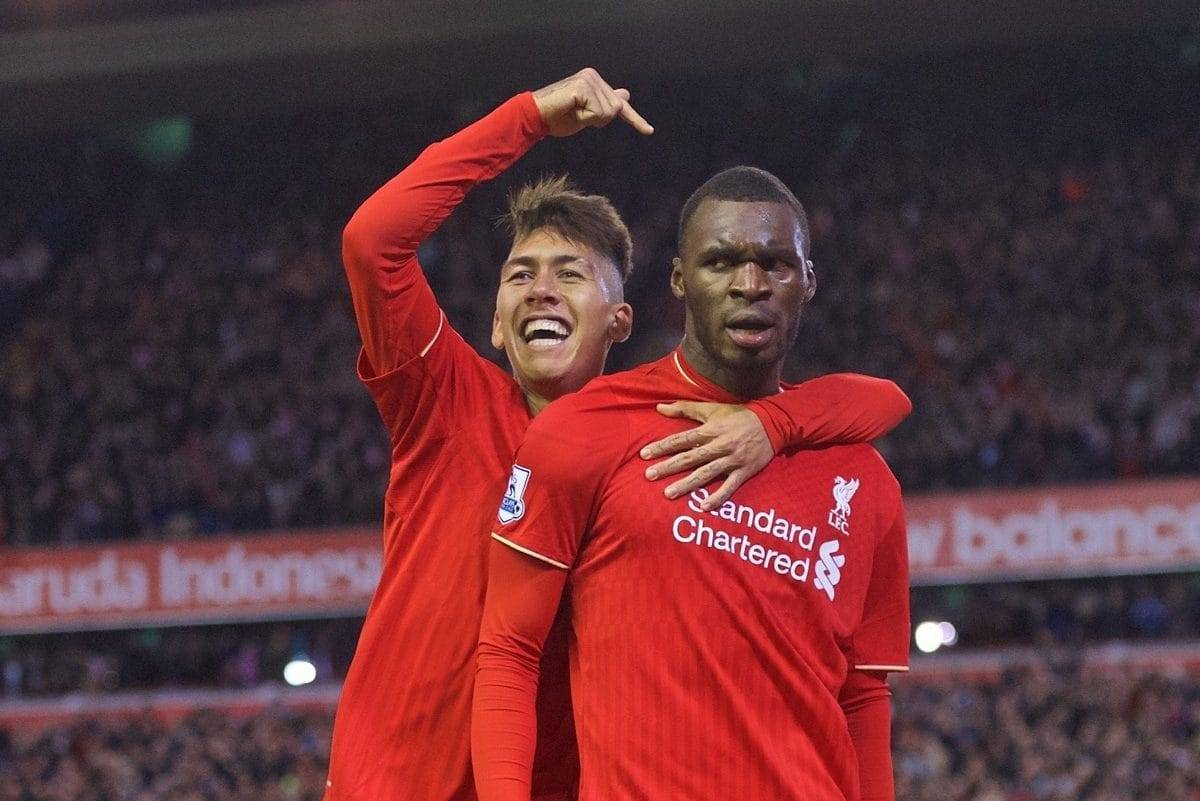 LIVERPOOL, ENGLAND - Sunday, October 25, 2015: Liverpool's Christian Benteke celebrates scoring the first goal against Southampton with team-mate Roberto Firmino during the Premier League match at Anfield. (Pic by David Rawcliffe/Propaganda)