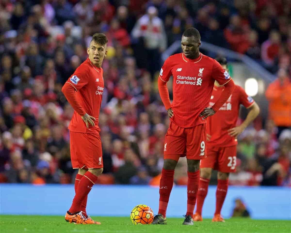 LIVERPOOL, ENGLAND - Sunday, October 25, 2015: Liverpool's Roberto Firmino and Christian Benteke look dejected as his side concede a late equaliser to Southampton during the Premier League match at Anfield. (Pic by David Rawcliffe/Propaganda)