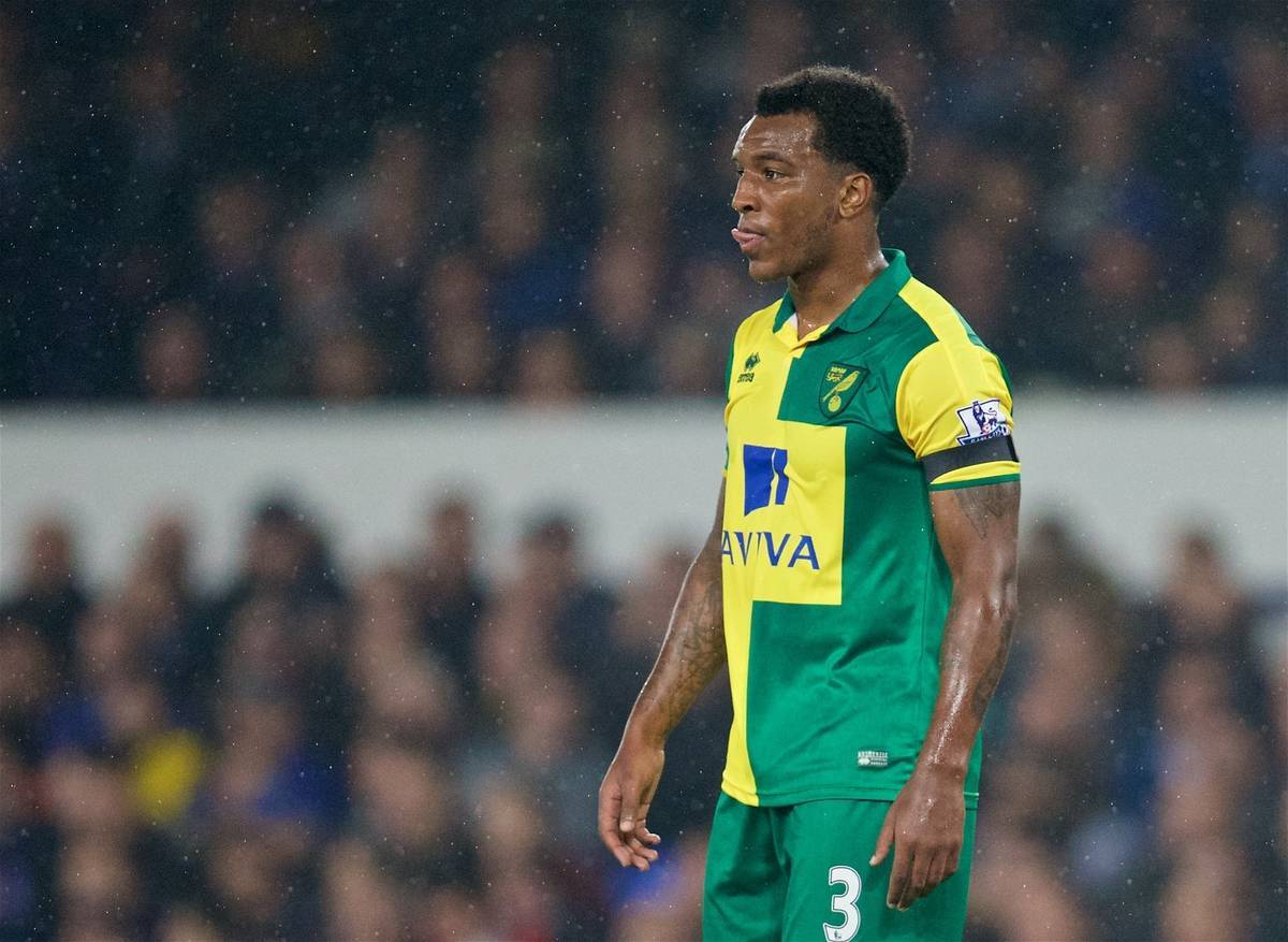 LIVERPOOL, ENGLAND - Tuesday, October 27, 2015: Norwich City's Andre Wisdom in action against Everton during the Football League Cup 4th Round match at Goodison Park. (Pic by David Rawcliffe/Propaganda)