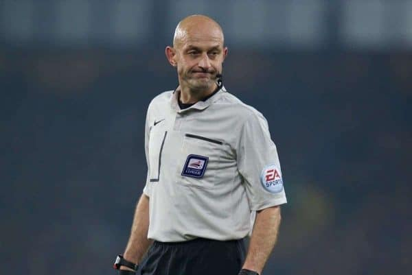 LIVERPOOL, ENGLAND - Tuesday, October 27, 2015: Referee Roger East during the Football League Cup 4th Round match between Everton and Norwich City at Goodison Park. (Pic by David Rawcliffe/Propaganda)