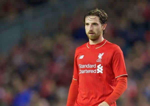LIVERPOOL, ENGLAND - Wednesday, October 28, 2015: Liverpool's Joe Allen in action against AFC Bournemouth during the Football League Cup 4th Round match at Anfield. (Pic by David Rawcliffe/Propaganda)