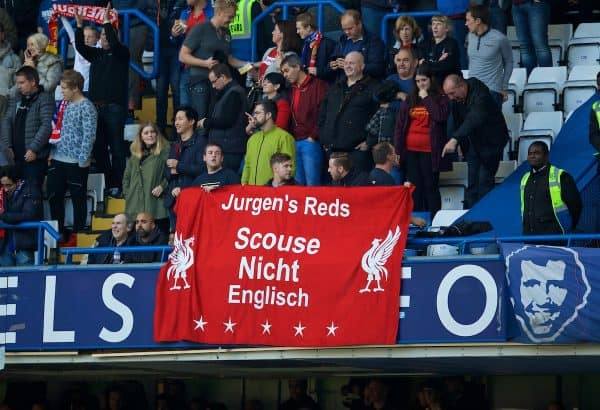 """LONDON, ENGLAND - Saturday, October 31, 2015: Liverpool supporters' banner """"Jurgen's Reds Scouse Nicht Englisch"""" during the Premier League match against Chelsea at Stamford Bridge. (Pic by David Rawcliffe/Propaganda)"""