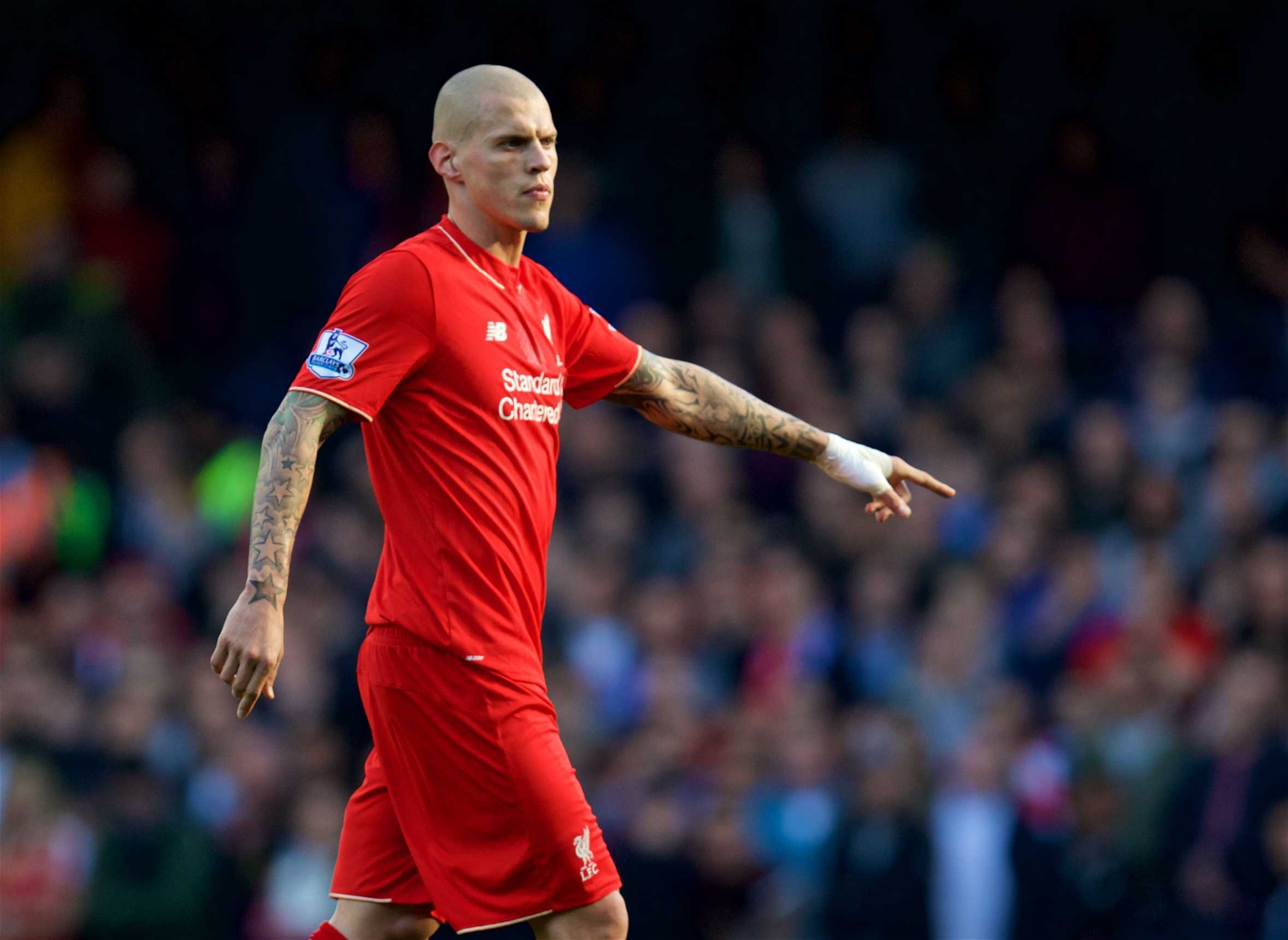 LONDON, ENGLAND - Saturday, October 31, 2015: Liverpool's Martin Skrtel in action against Chelsea during the Premier League match at Stamford Bridge. (Pic by David Rawcliffe/Propaganda)