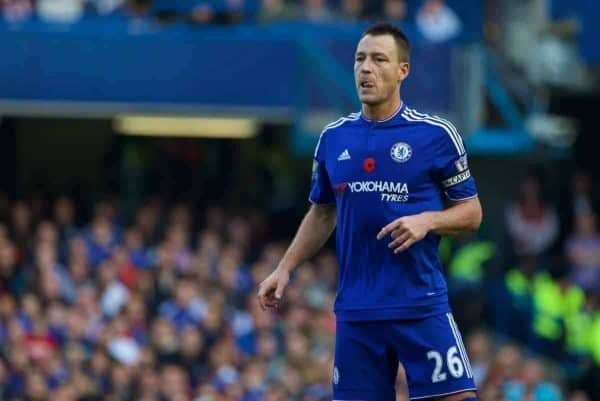 LONDON, ENGLAND - Saturday, October 31, 2015: Chelsea's captain John Terry in action against Liverpool during the Premier League match at Stamford Bridge. (Pic by Lexie Lin/Propaganda)