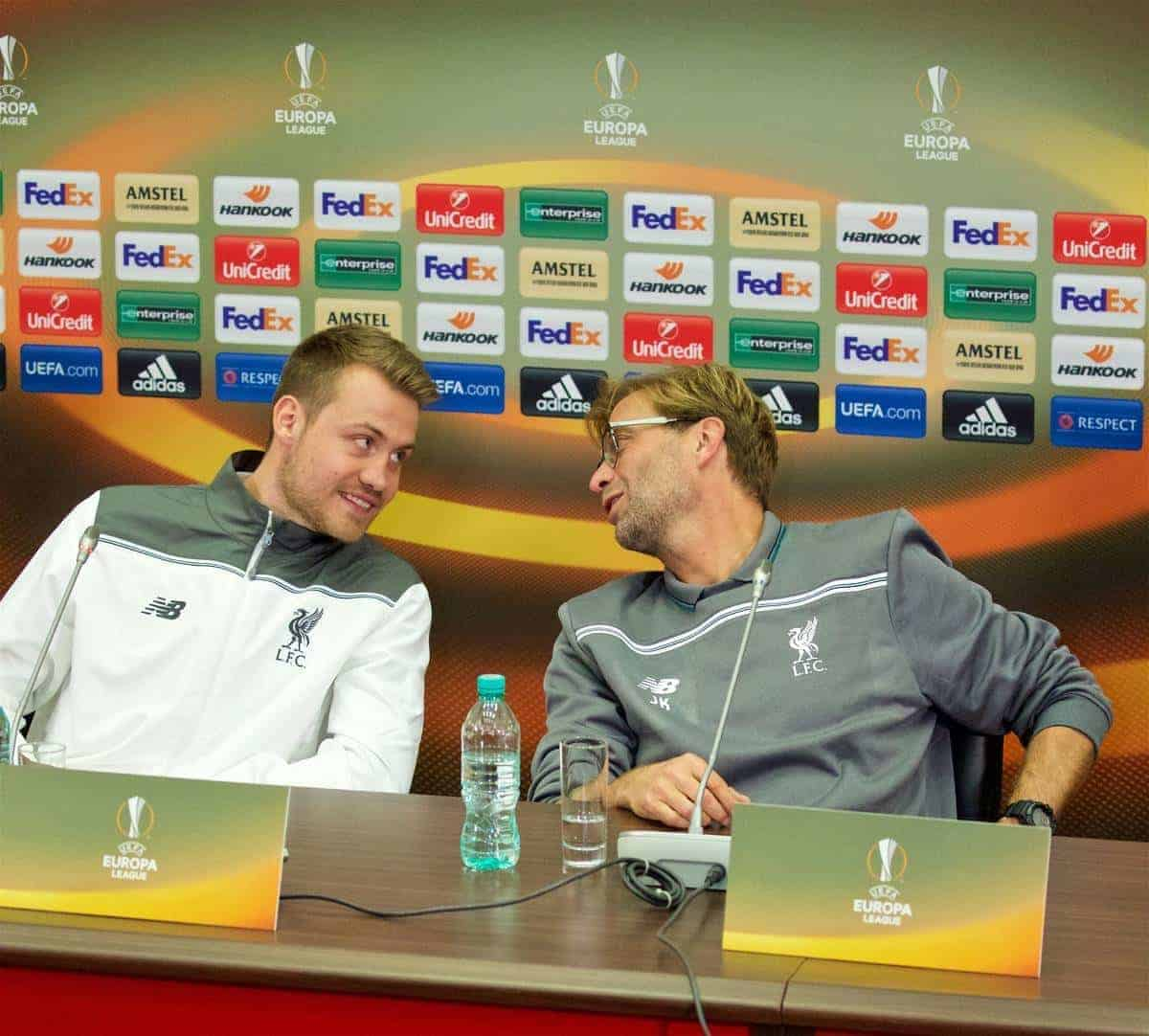 KAZAN, RUSSIA - Wednesday, November 4, 2015: Liverpool's goalkeeper Simon Mignolet and manager Jürgen Klopp during a press conference at the Kazan Arena ahead of the UEFA Europa League Group Stage Group B match against FC Rubin Kazan. (Pic by Oleg Nikishin/Propaganda)
