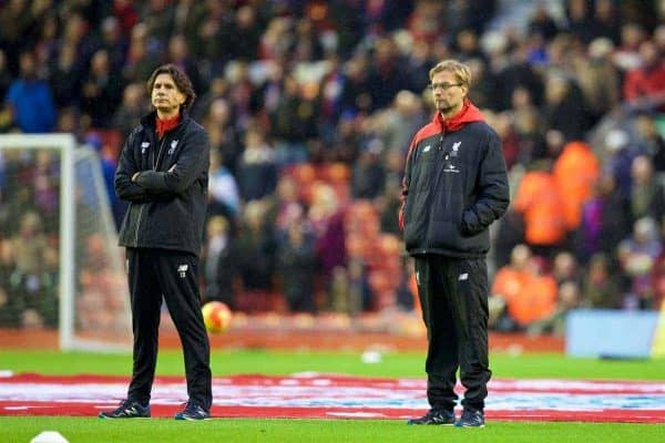 LIVERPOOL, ENGLAND - Sunday, November 8, 2015: Liverpool's manager Jürgen Klopp and assistant manager Zeljko Buvac watch their side warm-up before the Premier League match against Crystal Palace at Anfield. (Pic by David Rawcliffe/Propaganda)