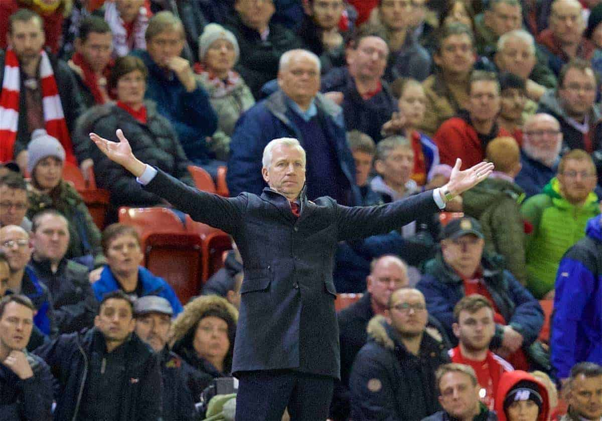 LIVERPOOL, ENGLAND - Sunday, November 8, 2015: Crystal Palace's manager Alan Pardew during the Premier League match against Liverpool at Anfield. (Pic by David Rawcliffe/Propaganda)