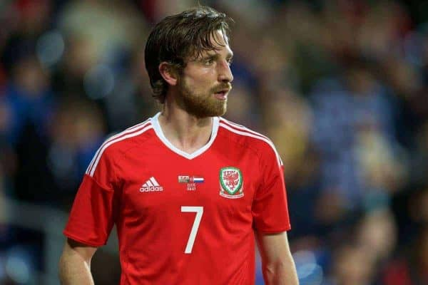 CARDIFF, WALES - Friday, November 13, 2015: Wales' Joe Allen in action against the Netherlands during the International Friendly match at the Cardiff City Stadium. (Pic by David Rawcliffe/Propaganda)