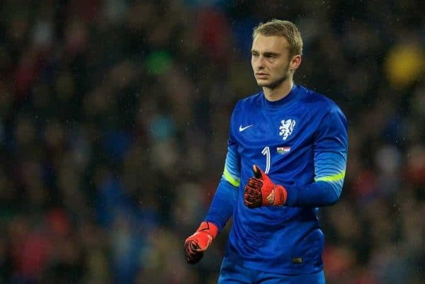 CARDIFF, WALES - Friday, November 13, 2015: The Netherlands' goalkeeper Jasper Cillessen in action against Wales during the International Friendly match at the Cardiff City Stadium. (Pic by David Rawcliffe/Propaganda)
