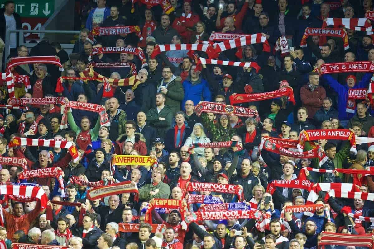 "LIVERPOOL, ENGLAND - Thursday, November 26, 2015: Liverpool supporters sing ""You'll Never Walk Alone"" before the UEFA Europa League Group Stage Group B match against FC Girondins de Bordeaux at Anfield. (Pic by David Rawcliffe/Propaganda)"