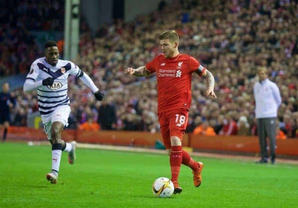 LIVERPOOL, ENGLAND - Thursday, November 26, 2015: Liverpool's Alberto Moreno in action against FC Girondins de Bordeaux during the UEFA Europa League Group Stage Group B match at Anfield. (Pic by David Rawcliffe/Propaganda)