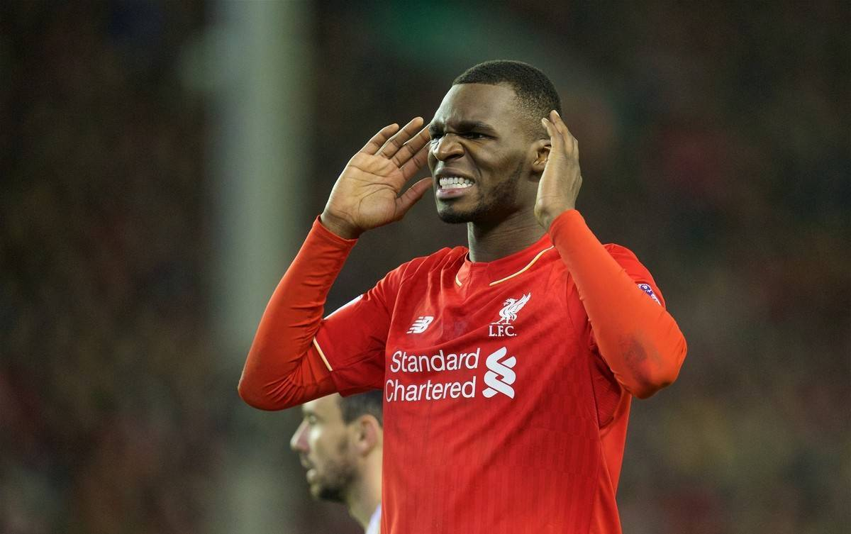 LIVERPOOL, ENGLAND - Sunday, November 29, 2015: Liverpool's Christian Benteke looks dejected after missing a chance against Swansea City during the Premier League match at Anfield. (Pic by David Rawcliffe/Propaganda)