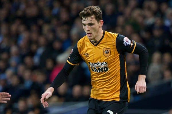 MANCHESTER, ENGLAND - Tuesday, December 1, 2015: Hull City's Andrew Robertson in action against Manchester City during the Football League Cup Quarter-Final match at the City of Manchester Stadium. (Pic by David Rawcliffe/Propaganda)