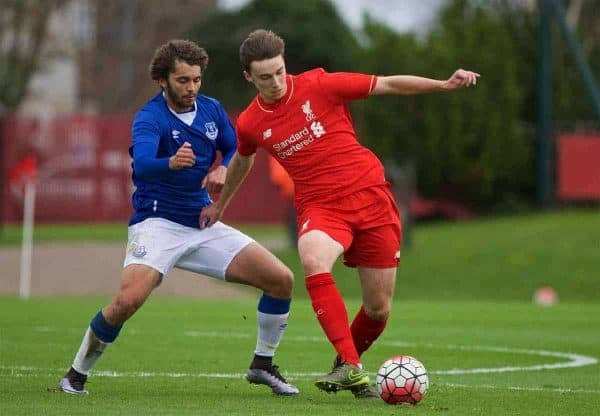 KIRKBY, ENGLAND - Saturday, December 5, 2015: Liverpool's Conor Masterson in action against Everton's Delial Brewster during the FA Premier League Academy match at the Kirkby Academy. (Pic by David Rawcliffe/Propaganda)