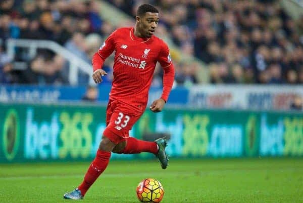 NEWCASTLE-UPON-TYNE, ENGLAND - Sunday, December 6, 2015: Liverpool's Jordon Ibe in action against Newcastle United during the Premier League match at St. James' Park. (Pic by David Rawcliffe/Propaganda)
