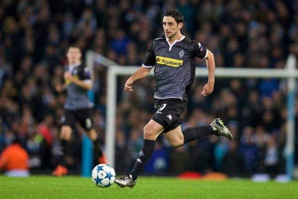 MANCHESTER, ENGLAND - Tuesday, December 8, 2015: VfL Borussia Mönchengladbach's Lars Stindl in action against Manchester City during the UEFA Champions League Group D match at the City of Manchester Stadium. (Pic by David Rawcliffe/Propaganda)