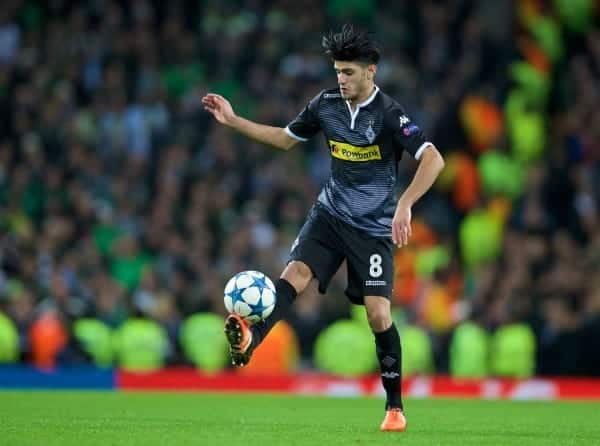 MANCHESTER, ENGLAND - Tuesday, December 8, 2015: VfL Borussia Mönchengladbach's Mahmoud Dahoud in action against Manchester City during the UEFA Champions League Group D match at the City of Manchester Stadium. (Pic by David Rawcliffe/Propaganda)