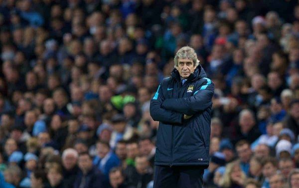 MANCHESTER, ENGLAND - Tuesday, December 8, 2015: Manchester City's manager Manuel Pellegrini during the UEFA Champions League Group D match against VfL Borussia Mönchengladbach at the City of Manchester Stadium. (Pic by David Rawcliffe/Propaganda)